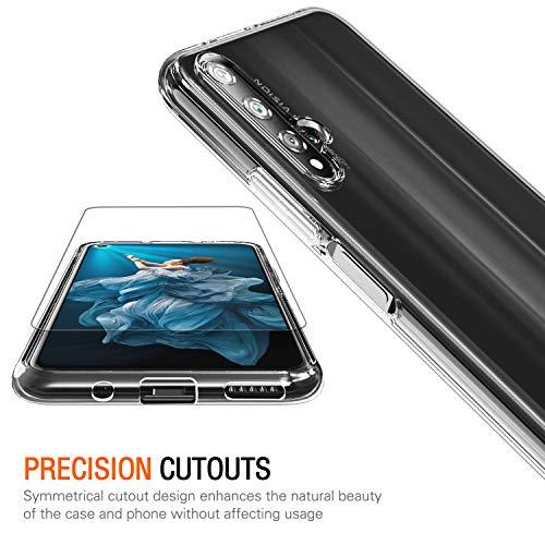 ivoler Hülle für Huawei Nova 5T / Honor 20 + 3 Stück Panzerglas, Durchsichtig Handyhülle Transparent Silikon TPU Schutzhülle Case mit Hartglas Schutzfolie Glas für Huawei Nova 5T / Honor 20 - 3