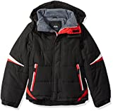 LONDON FOG Boys' Big Active Puffer Jacket Winter Coat, Super Black, 10/12...