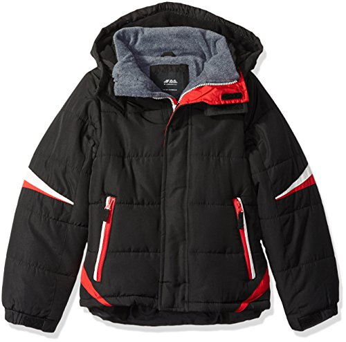 LONDON FOG Boys' Big Active Puffer Jacket Winter Coat, Super Black, 10/12