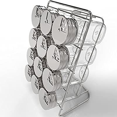 Royal Spice Rack with 12 2.7-Ounce Glass Jars and Stainless Steel Rotating Lids