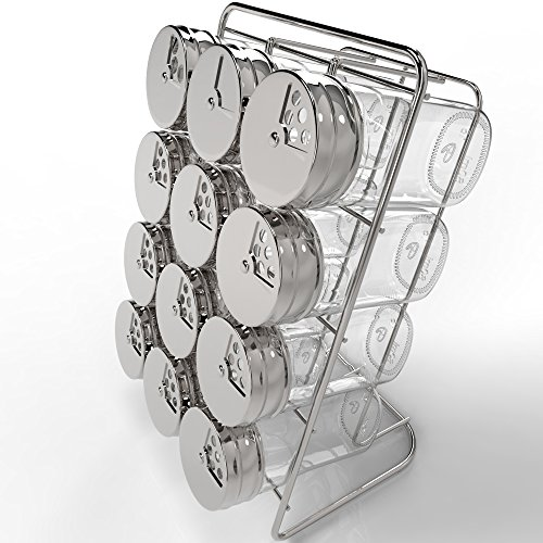 Royal Spice Rack with 12 Glass Jars - Premium Spice Organizer with 2.7...
