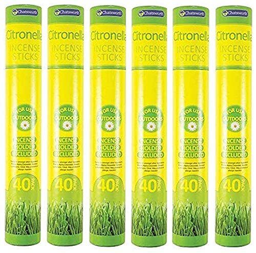 Insect Repellent Incense Sticks (6/Pack) and Scented Tealight Glass Candles (4/Pack) with 8 Hours Burning Time   Long Lasting Mosquito Repellent for Outdoor/Indoor Use (Citronella Incense Sticks)