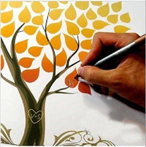 GxNI Creativo de la boda de la huella digital del árbol rótulos alterno para la firma del Libro de Visitas de huella digital cartel del árbol dedo pintada por un aniversario de boda cumpleaños de huellas digitales (hojas amarillas) , 60x75cm (oil painting)