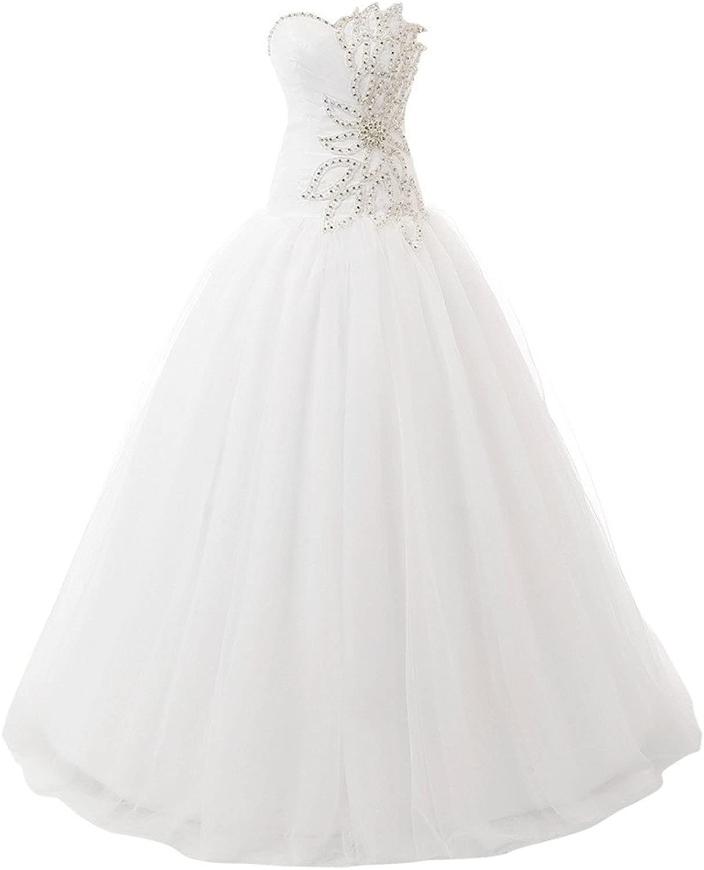 HONGFUYU Strapless Pearls Tulle Wedding Dresses Bridal Wedding Gowns