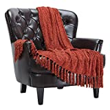 Chanasya Chenille Velvety Texture Decorative Throw Blanket with Tassels - Soft Cozy Elegant with Subtle Shimmer for Sofa Chair Couch Bed Living Room Orange Brown Throw Blanket (50x65 Inches) Cinnamon