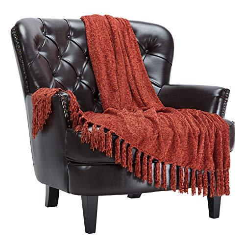 Chanasya - Manta decorativa de chenilla con borlas, suave, acogedora y elegante con sutil brillo para sofá, silla, sofá, cama, sala de estar, color naranja y marrón (127 x 165...