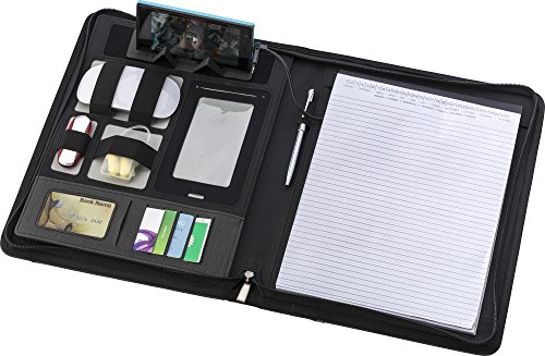 Elegante Dokumentenmappe Schreibmappe mit integrierter 5000 mAh Powerbank (Li-Ion) für Smartphone oder Tablet im DIN A 4 Format mit Gratis USB Stick 8 GB von notrash2003®