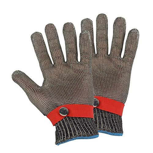Schnittfeste Handschuhe 1 Paar Anti-Schneiden 316L-Stahlhandschuhe, Sicherheitsarbeitshandschuhe Für Fleischverarbeitung In Schlachthaus, Einstellbarer Handgelenkband (Size : Medium)