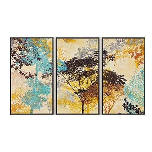 YABINGA Estilo nórdico Moderno Simple Pintura Abstracta Estampado de árboles Sala de Estar Comedor Lienzo Arte de la Pared Decoración para el hogar Pintura (40x80cm) × 3pcs Sin Marco