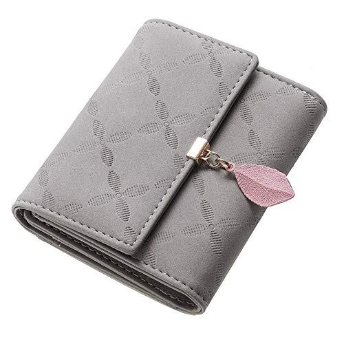 JOSEKO Billetera Corta con Volantes para Mujer, Billetera de Cuero PU, Billetera pequeña con Ranura para Tarjeta, Billetera Femenina Elegante#Gris