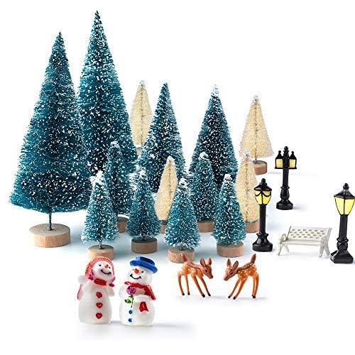 KUUQA 31 PCS Mini Weihnachtsbaum Modell Schnee Frost Bäume Flasche Pinsel Bäume Kunststoff Winter Schnee Ornamente Tabletop Modell Bäume für Weihnachten Party DIY Wohnkultur Tischdekoration
