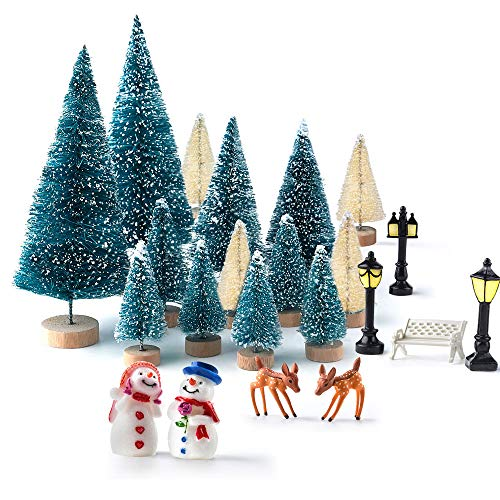 KUUQA Mini Assorted Pine Trees Bottle Brush Trees with Snowmen, Reindeer, Mini Garden Wooden Bench, Street Lamps Miniature Ornaments for Christmas Village Decoration Ornaments Winter Decor(Set of 31)