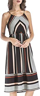 Jojckmen Women Striped Beach Dress Sleeveless Spaghetti Strap Midi A Line Chiffon Dress
