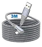 Siwket Cable USB C de 90 grados en ángulo 3M USB tipo C de nailon USB A a C cable de datos para Samsung Galaxy S10 S9 S8, Note 9/8, A50, LG G6 G7, Sony Xperia, Huawei, Switch, HTC 10 U11, Xiaomi Mi 8