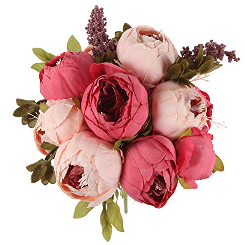 TYMG HOME Artificial Peony Silk Flowers Bouquet Home Wedding Decoration,Dark Pink