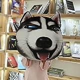 Muñeco Husky de Felpa de Dibujos Animados Almohada Divertida Erha Emoji Cojín para Perro extraíble y Lavable