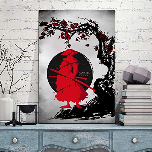 Puzzle 1000 Piezas Cuadro Arte Japonés Rojo Acuarela Sable Guerrero Pintura Puzzle 1000 Piezas Rompecabezas de Juguete de descompresión Intelectual Educativo Divertido Juego f50x75cm(20x30inch)