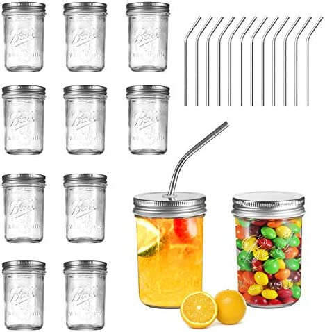 Ball Mason Jars 8 OZ OAMCEG 12 Pack Canning Jars with Lids 12 Straws 100 Recycled Glass Bottles product image
