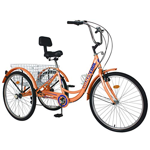 AJ Fashion Dreirad, 7 Geschwindigkeiten, 3 Räder, Erwachsene, Dreirad, Cruiser, Radsport, für Outdoor, Sport, Orange, 24 Zoll