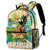 Mochila de verano con diseño de flamencos y guitarra, mochila de viaje informal para mujeres, adolescentes, niñas y niños