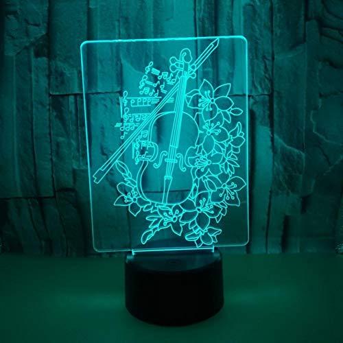 LIkaxyd LED 3D Nachtlicht, optische Täuschungslampe 7 Farbwechsel, Touch USB & batteriebetriebenes Spielzeug dekorative Lampe , Bestes Geschenk für Kinder-Cello und Blume