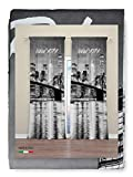Tex family Cortina New York con puente de Brooklyn, 160 x 300 cm, confeccionada en Italia, mezcla de lino
