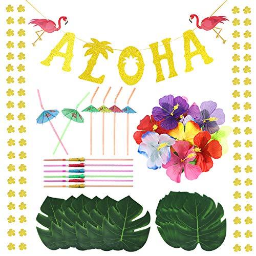 Hawaiian Tropical Luau Party Decorations Set - Gold Glittery Aloha Banner, Tropical Palm Leaves, Luau Hibiscus Flowers, Umbrella Straws for Summer Beach Pool Party Decoration Aloha Party Supply Favors
