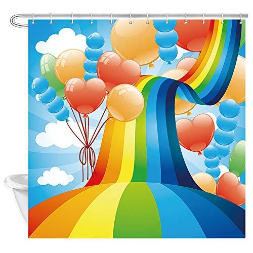 Regenbogen & Luftballons Duschvorhänge, Dream Fantasy Regenbogenbrücke & Luftballons Badevorhang, Polyesterstoff Badezimmer Vorhang mit 12 Haken, 177,9 x 177,8 cm