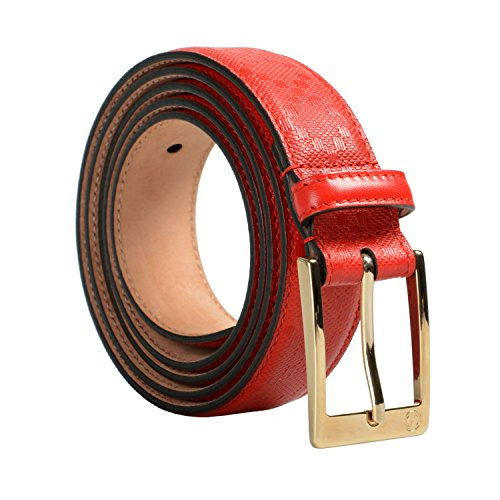 Gucci - Cinturón unisex (100% piel, color rojo