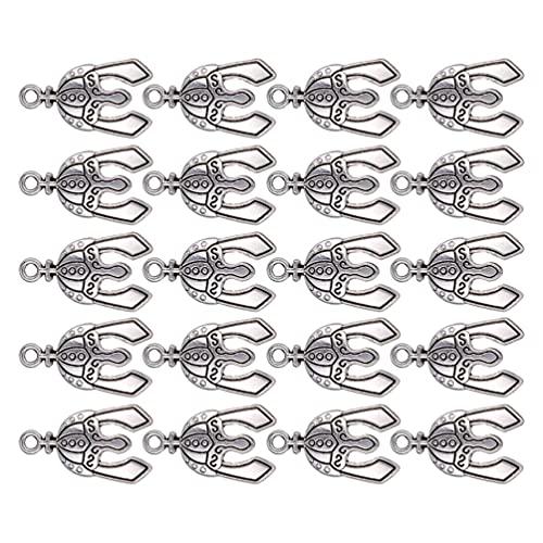 Artibetter 20 Piezas de Casco de Caballeros Amuletos de Plata Tibetana Amuletos de Paracord para Collar de Pendientes Suministros de Fabricación de Joyas DIY