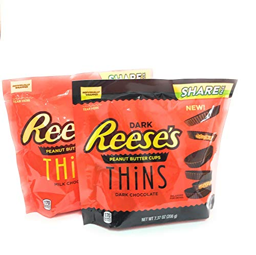 Reeses Peanut Butter Cups Dark and Milk Chocolate Thins (Variety Pack of 2)