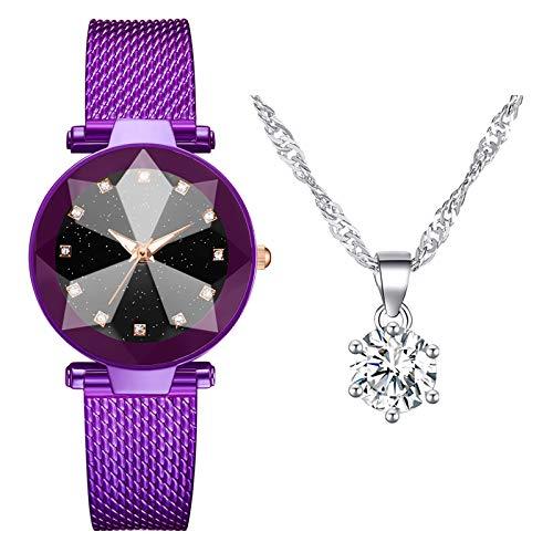 Damen Armbanduhr mit Halskette Zweiteiliger Anzug Quartz Uhr Damen Uhren Geschäftsquarzuhr Halskette Damenaccessoires (Lila)