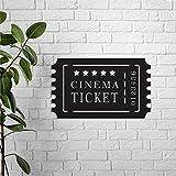 43LenaJon Entrada de cine de metal, entrada de película, decoración de sala de cine de metal nombre de la familia signo de número de casa signos regalo de inauguración de la casa