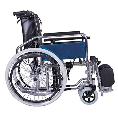 Handmatige opvouwbare rolstoel, lichtgewicht luxe opvouwbaar transport reis rolstoel in een tas met handremmen en hoogte verstelbare voetsteunen