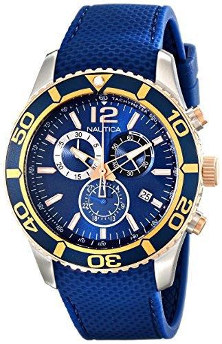 Nautica NAD16502G Orologio Cronografo Quarzo Uomo con Cinturino in Gomma, Blue/Gold