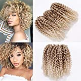 3pcs/pack Marley bob Kinky Curl 8 Inch Afro Kinky Twist Hair Soft Synthetic Crochet Braiding Hair Extention (blonde)