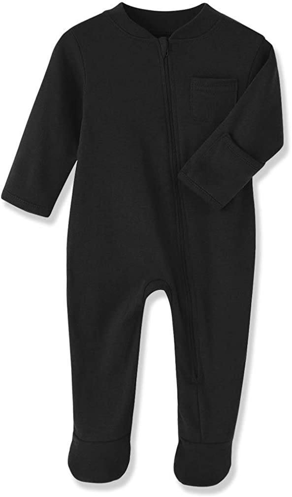 New Shipping Free Shipping Superior Baby Kids Sleep and Play Cotton Footed Sleeper Pa Zip Front
