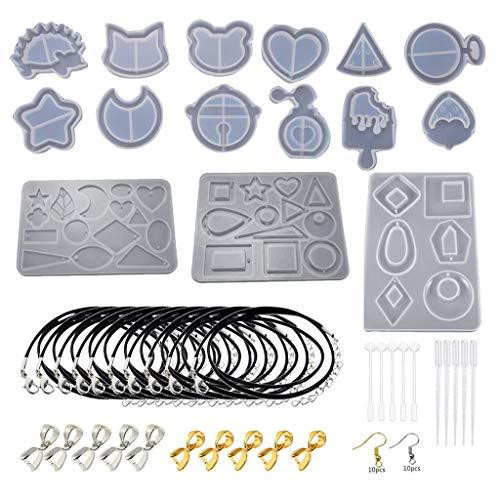 Eliky 65 stuks slinger siliconen gietvormen kegels epoxyhars vormen hars steen pendel kristal kolom hanger silicone uv-hars vorm sieraden gereedschappen