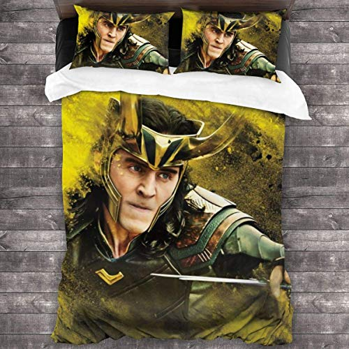 Loki God of Evil God of Lies Bedding 3 Piece Set-with 1 Duvet Cover Set 2 Pillow Cover Microfiber Set Ultra Soft Zipper Colsure C981