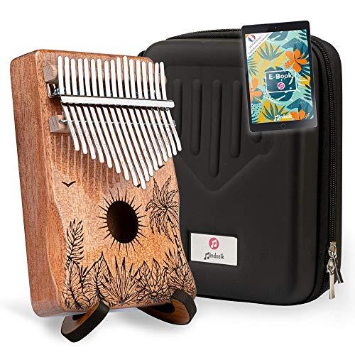 Kalimba Mindozik 17 llaves Instrumento musical Piano de dedo - Regalo original relax - Madera okoumé de alta calidad + soporte funda protectora + libro electrónico de particiones
