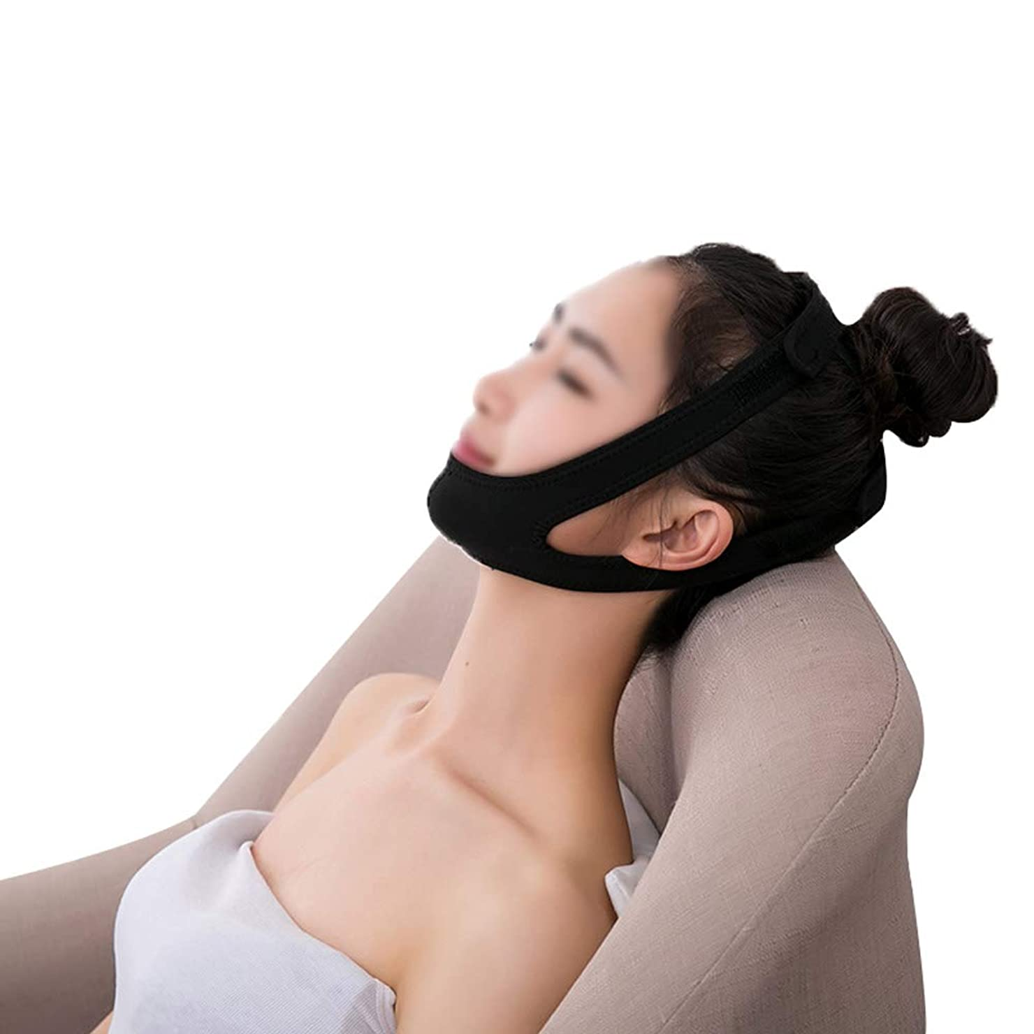 レンチバス裸GLJJQMY リフティングマスク家庭用包帯震えネット赤女性vフェイスステッカーショルダーストラップ表面アーティファクト後引き締めマスク 顔用整形マスク