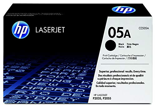 HP 05A CE505A, Negro, Cartucho Tóner Original, de 2.300 páginas, para impresoras HP LaserJet P2035, P2055, P2030, P2050, P2055D y P2055DN