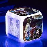 fdgdfgd Dibujos Animados Anime Girl 3D LED con termómetro Fecha Despertador Dormitorio decoración lámpara de Mesa Despertador