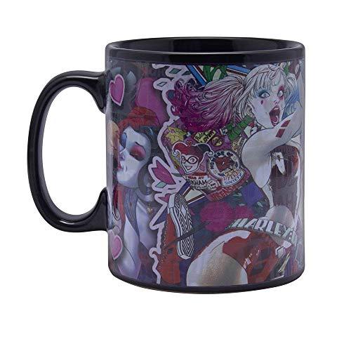 Birds of Prey - Thermoeffekt XXL Tasse Kaffeebecher - Harley Quinn - Keramik - schwarz - Geschenkbox