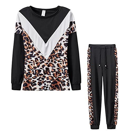 Wilitto Otoño e invierno señoras en forma de V estampado leopardo color sólido costura cuello redondo manga larga superior elástico cintura leopardo costura pantalones casual traje deportivo negro S
