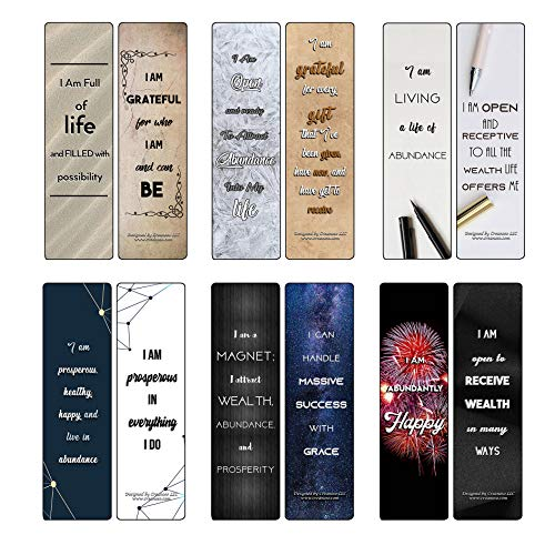 Creanoso I Am Affirmations Cards - Abundance (12-Pack) - Awesome Gift Set for Adult Men & Women, Teens, Boys, Girls – Six Bulk Assorted Bookmarks Designs – Corporate Giveaways
