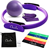 Chenlin 5 Pcs Pilates Ring Set,14 inch Yoga Fitness Magic Circle,Resistance Loop Bands,Pilates Ball,Stretch Strap for Home Fitness,Strength Training,Physical Therapy,Home Exercise Yoga Equipment Set