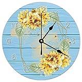 Pealrich Reloj de pared de oro con girasol y manzanilla, silencioso, de madera, redondo, para sala de estar y dormitorio, 10 pulgadas