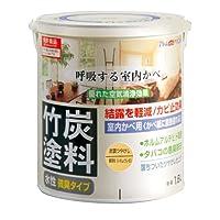 アトムハウスペイント 水性竹炭塗料 1.6L 炭調銀杏色
