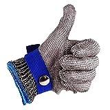 Guante de seguridad de malla de acero inoxidable anticortes para carniceros, talle L, de alto rendimiento, con nivel 5 de protección, color azul